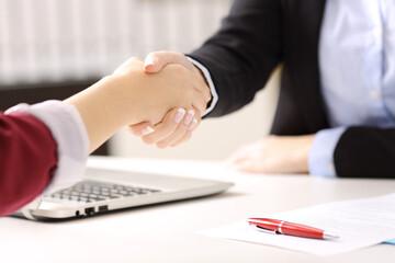 Businesswomen handshaking closing a deal