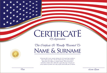 Certificate or diploma United States flag design