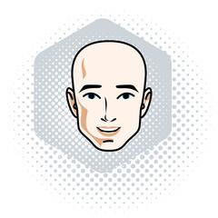 Caucasian man face expressing positive emotions, vector human head illustration.