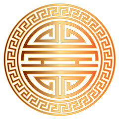 Chinese Longevity Symbol with Border vector Illustration