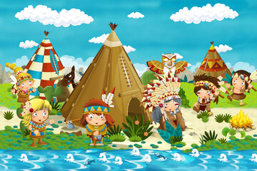 cartoon indian chief is sitting by the fire near the tee pee and looking at dancing warriors - illustration for children