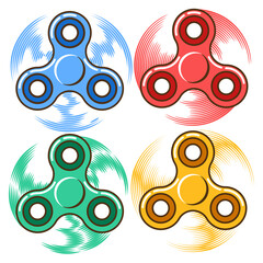 Set of colorful hand spinners rotating around Most most sought-after plaything for relaxation recreation comfort and stress relief Bestseller toy for tricks Isolated vector flat illustration.