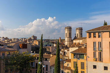 Jacint Verdaguer Square, in the downtown of Girona. Catalonia