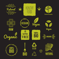 Set of vegan, bio, eco labels, icon and marks, vector illustration