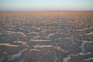 """dry salt desert """"Dasht-e Kavir"""" at sunset in Iran"""