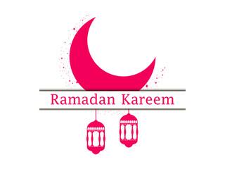 Ramadan Kareem. Lantern and moon. Muslim holiday lights. Vector illustration