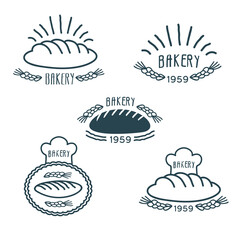 Bakery logos set with bread and spikelets