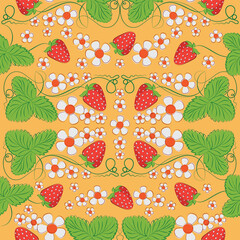Berries and flowers of strawberry on an orange background. Natural product. Jointless pattern. Market of farmers, packing of products.