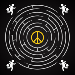 Peace labyrinth - business man run to find his peace background template