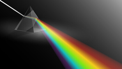 Light Passing Through a Triangular Prism. Physics Illustration Template