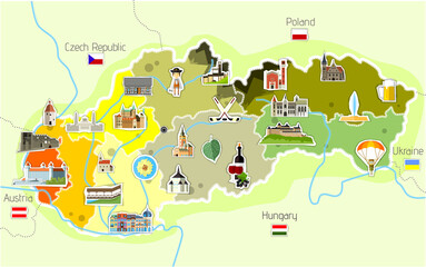Map of Slovakia with landmarks