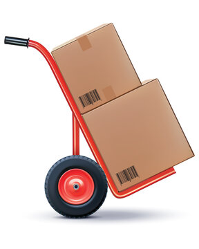 Shipping cart isolated on white. Vector 3d illustration