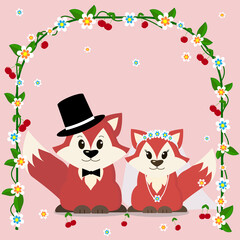 A pair of foxes sits under the wedding arch.