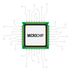 Integrated Microprocessor concept.Microchip Icon. CPU (Central Processing Unit). Vector illustration.