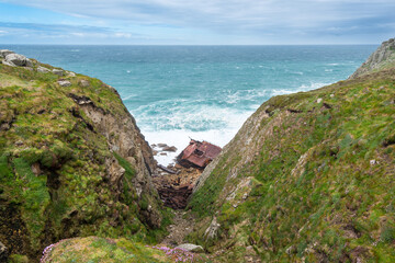 The wreck of RMS Mulheim in Castle Zawn between Sennen Cove and Lands End, Cornwall, UK.