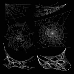 Spiderweb or spider web cobweb on wall corner vector isolated icons
