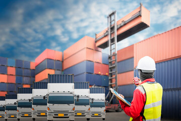 Wall Mural - Foreman control loading Containers box from Cargo freight ship for import export.
