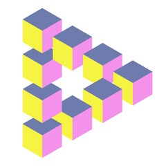 Optical illusion triangle with cubes
