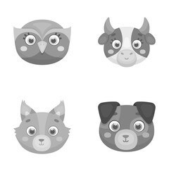 Owl, cow, wolf, dog. Animal s muzzle set collection icons in monochrome style vector symbol stock illustration web.