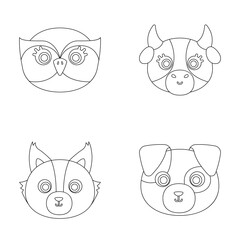 Owl, cow, wolf, dog. Animal s muzzle set collection icons in outline style vector symbol stock illustration web.