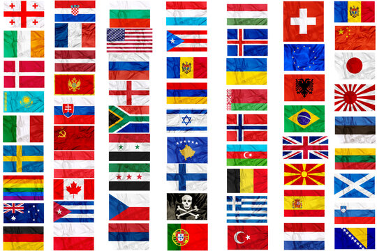 Flags of world contries and symbols in frame on white background: England Russia Italy Spain Scotland Germany US China Sweeden Greece France Brazil Japan Canada Russia Syria pirate europe Cuba Finland