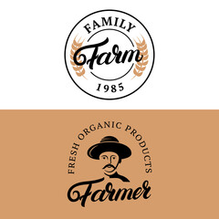 1004493 Family Farm and Farmer hand written lettering logos, labels, emblems, badges.