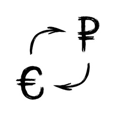 Currency - Grunge - Exchange - Euro and Ruble