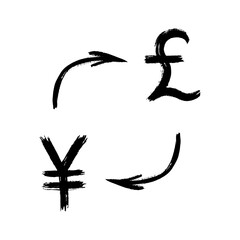 Currency - Grunge - Exchange - Yen and Pound