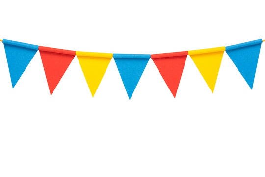 Colorful paper bunting party flags isolated on white background