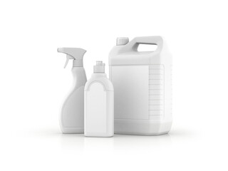 White plastic bottle, 3D rendering