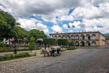 Parque Central or Plaza Mayor (Main Square) and Ayuntamiento Palace (City Hall) - Antigua, Guatemala