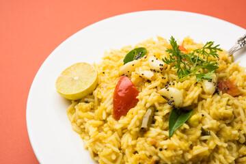 dal khichadi or dal khichdi, popular indian food. selective focus