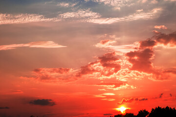 Bright colorful beautiful sunset clouds in the sky