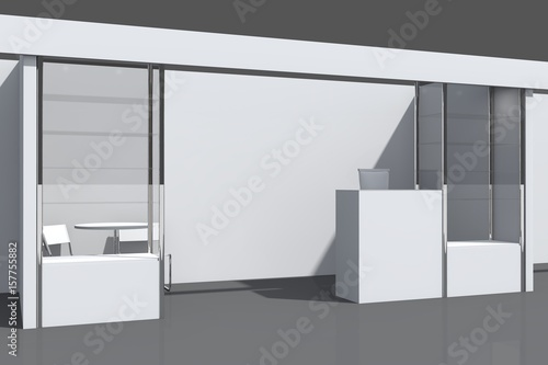 Exhibition Stand Reception Desk : Quot d visualization of the exhibition stand with showcases