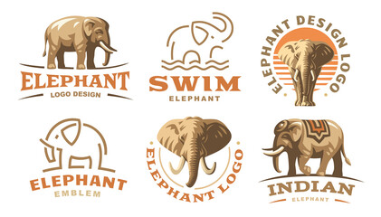 Set elephant logo - vector illustration, emblem design