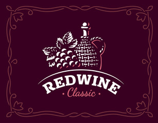 Bottle of wine and grapes logo - vector illustration, emblem design on maroon color background