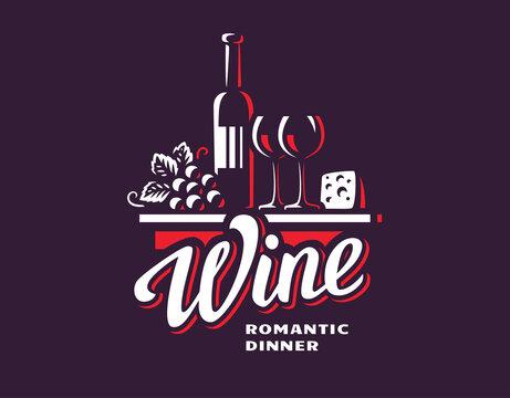 Wine and grapes logo - vector illustration, emblem design