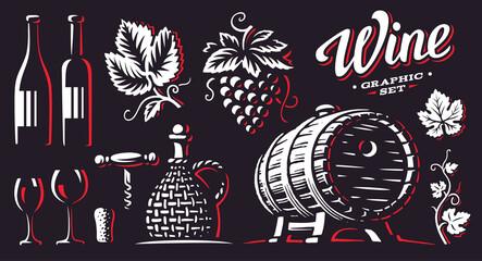 Wine, set vector illustrations, design on dark background