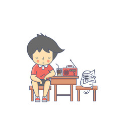 Boy and the Dog Listening Radio Character Vector Illustration