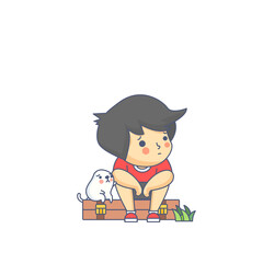 Boy and the Dog Waiting Character Vector Illustration
