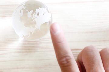 Crystal Globe World Map hand