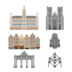 City sights. Brussels architecture landmark. Belgium country flat travel elements. Famous square Grand place with Town Hall. Cathedral of St. Michael and St. Gudula. Triumphal arch. Statue of a