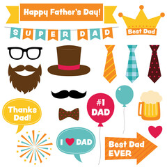 Fathers Day design elements and photo booth props