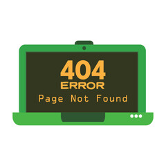 Isolated green laptop with the text 404 error page not found written on its screen