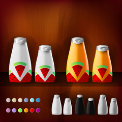 Mockup template for branding and product designs. Isolated realistic plastic bottles with dispenser spray and unique fruit design. Easy to use for advertising branding and marketing.