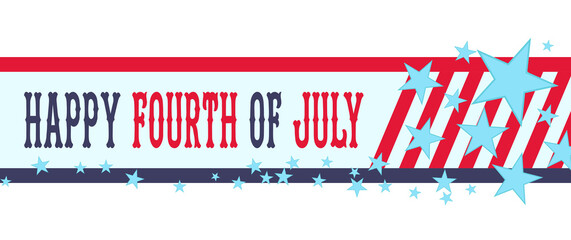 Happy fourth of July banner with stars and stripes. USA Independence Day or 4th of July decoration.