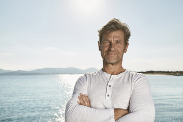 Mediterranean Sea, Fit Fifty, portrait of satisfied mature man