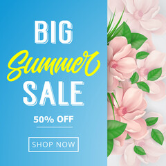 Big summer sale invitation with narcissus