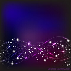 Abstract waves background in blue and lilac colors. Illustration