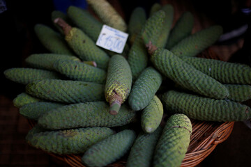 Exotic fruits of monstera are shown at Lavradores market in Funchal